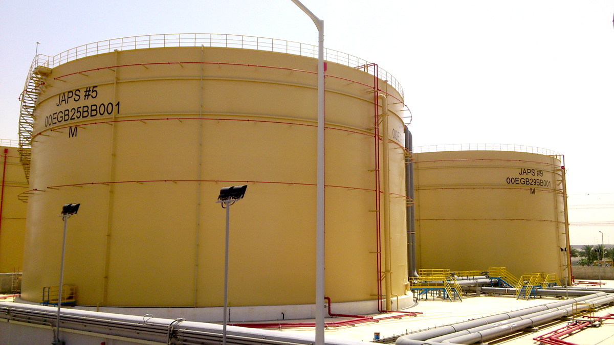 Fuel Storage Tanks Protected by Foam Pourer & Water Spray System